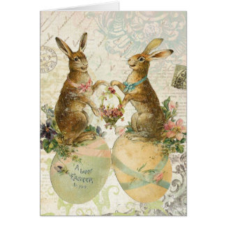 Vintage Easter bunnies notecard Greeting Card