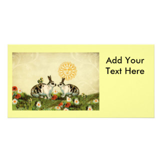 Vintage Easter Bunnies Customized Photo Card