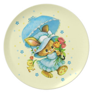 Vintage Easter Bunny and Chick. Gift Easter Plates