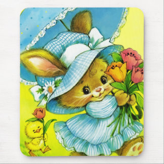 Vintage Easter Bunny and Chick. Gift Mousepad