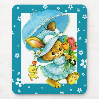 Vintage Easter Bunny and Chick. Gift Mousepads