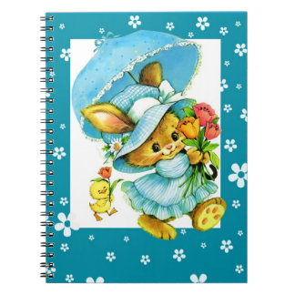 Vintage Easter Bunny and Chick. Gift Notebook