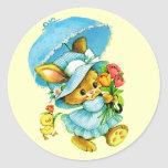 Vintage Easter Bunny and Chick. Gift Stickers