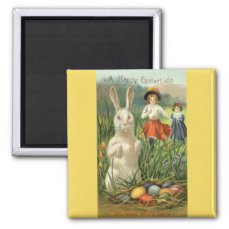 Vintage Easter Bunny and Eggs, Happy Eastertide Magnet