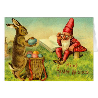 Vintage Easter Bunny and Gnome Card