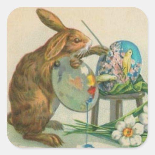 Vintage Easter Bunny Art Sticker