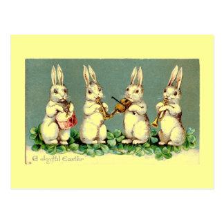 Vintage Easter Bunny Band Postcard