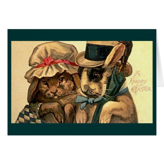 Vintage - Easter Bunny Couple Card