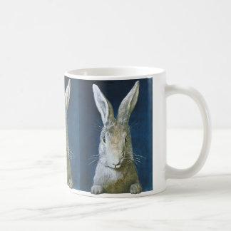 Vintage Easter Bunny, Cute Furry White Rabbit Coffee Mug