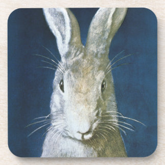 Vintage Easter Bunny, Cute Furry White Rabbit Coaster