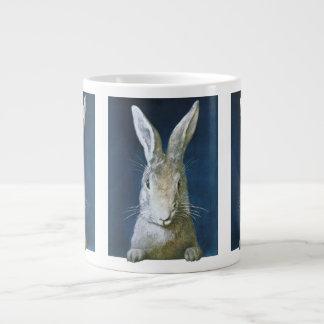 Vintage Easter Bunny, Cute Furry White Rabbit Large Coffee Mug