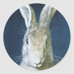 Vintage Easter Bunny, Cute Furry White Rabbit Stickers