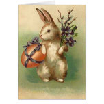 Vintage Easter Bunny Easter Egg Flowers Easter Greeting Card
