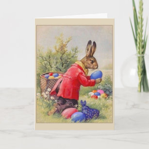 Vintage Easter Bunny Hiding Eggs, Holiday Card