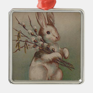 Vintage Easter Bunny Rabbit Silver-Colored Square Decoration