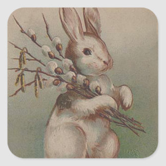 Vintage Easter Bunny Rabbit Square Sticker