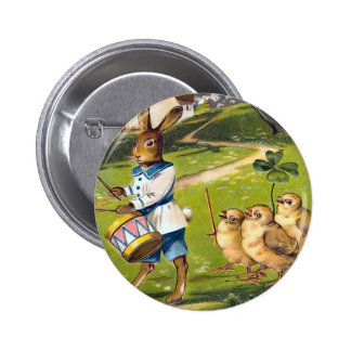 Vintage Easter Bunny Round Button