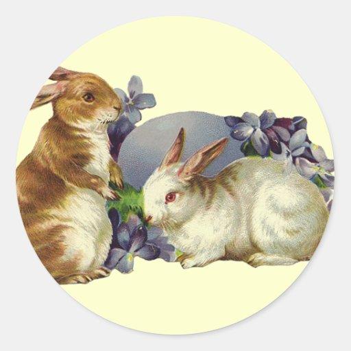 Vintage Easter Bunny Round Sticker