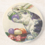 Vintage Easter Bunny w Easter Eggs; Happy Easter! Beverage Coasters