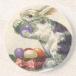 Vintage Easter Bunny w Easter Eggs; Happy Easter! Beverage Coasters