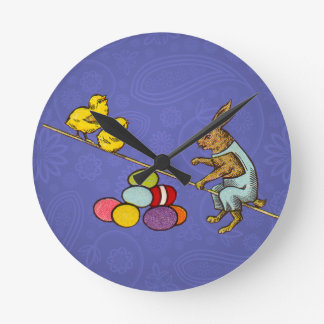Vintage Easter Bunny with chicks and Easter eggs Round Clock