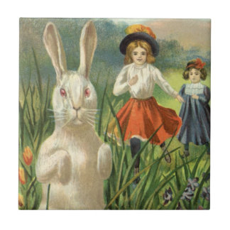 Vintage Easter Bunny with Eggs and Children Tile