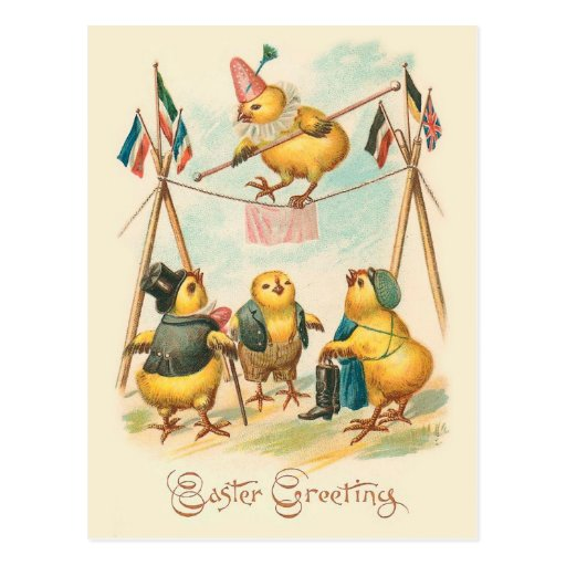 Vintage Easter Card With Circus Chicks Postcards