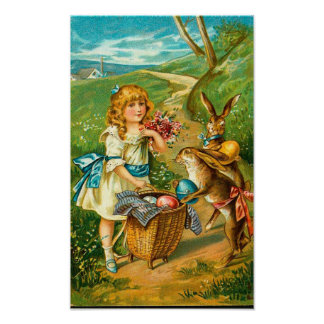 Vintage Easter Card With Girl And Bunnies Poster