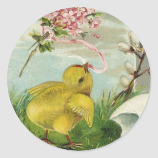 Vintage Easter Chick with Flowers Round Sticker