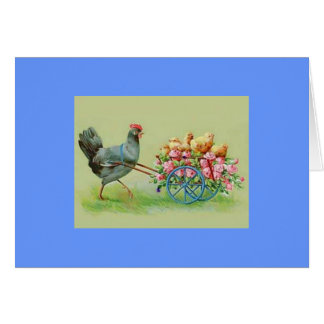Vintage Easter Chicken Chicks & Roses Greeting Card