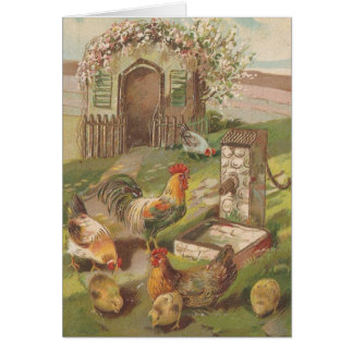 Vintage Easter Chickens Card