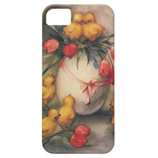 Vintage Easter Chicks and Victorian Tulips Case For The iPhone 5