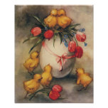 Vintage Easter Chicks and Victorian Tulips Poster