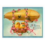 Vintage Easter Chicks Hot Air Balloon Postcards
