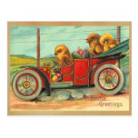Vintage Easter Chicks in Automobile Post Card