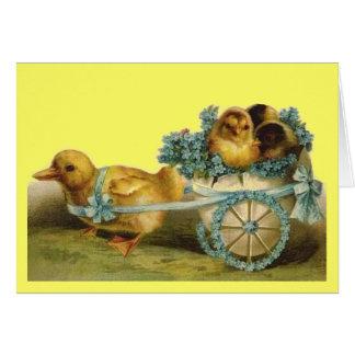 Vintage Easter Chicks in Egg Carriage of Violets Card