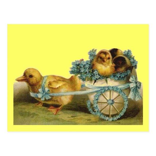 Vintage Easter Chicks in Egg of Violets Postcard