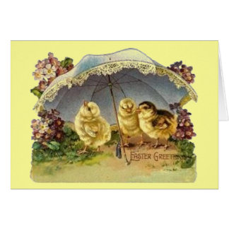 Vintage Easter Chicks & Parasol Greeting Card