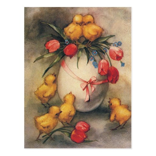 Vintage Easter Chicks, Red Tulip Flowers on Egg Post Card