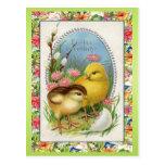 Vintage Easter Chicks Victorian Floral Postcard