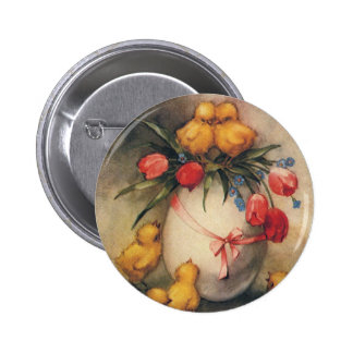 Vintage Easter Chicks with Red Tulip Flowers 6 Cm Round Badge