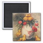 Vintage Easter Chicks with Red Tulip Flowers Magnet