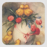 Vintage Easter Chicks with Red Tulip Flowers Square Sticker