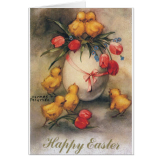 Vintage Easter Chicks with Red Tulips in an Egg Greeting Cards
