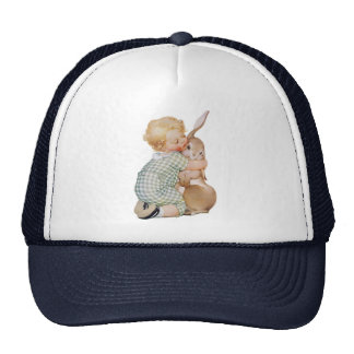Vintage Easter, Child with Bunny Rabbit, Hugs Love Cap