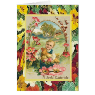 Vintage Easter, Child with hen and flowers Card