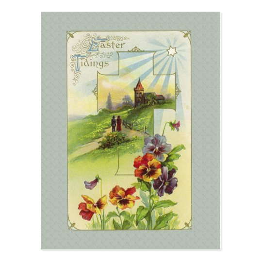 Vintage Easter Church Postcard