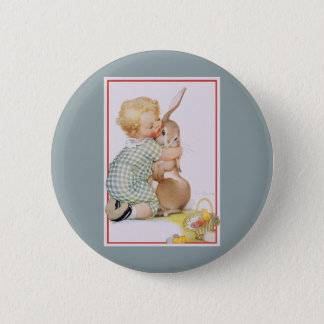 Vintage Easter, Cute Boy Child with Bunny Rabbit 6 Cm Round Badge