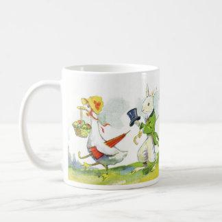 Vintage Easter Design Child's Mug-Dressed Animals Basic White Mug