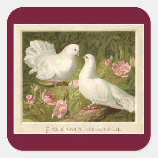 Vintage Easter Doves Square Sticker